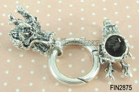 Antique silver dragon metal toggle clasps for 8mm leather cord bracelet