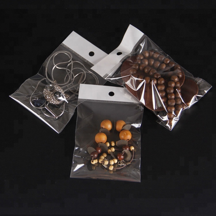 All Size Transparent OPP Plastic Polybag Custom Printed Jewelry Packaging Bag for Bracelet