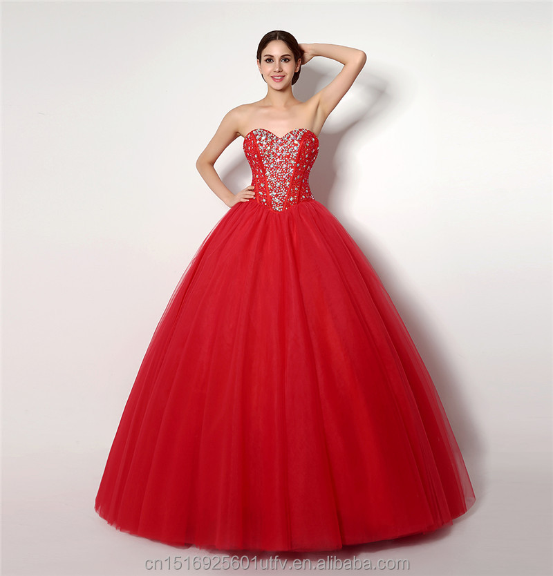 New Items Wholesale Beading Red Ball Gown Sweetheart Tulle Wedding Dresses For Brides Female Wedding Gowns 32258