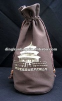 High Quality 100% Canvas Wine Drawstring Bag for One Bottle