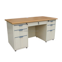 High Quality Double Side Drawers Steel Office Desk with MDF TOP