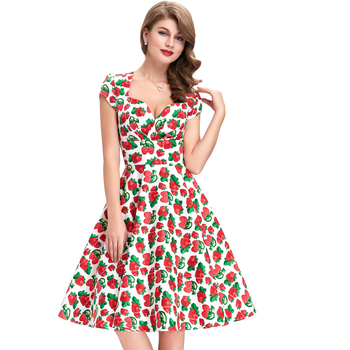 2016 BP Stock Cap Sleeve V-Neck 10 Patterns Cotton Strawberry Vintage 50s Retro Style Dress BP000001-10