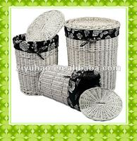 Handmade large wicker storage basket with lids S/3