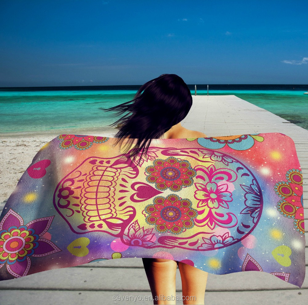 Custom print Oversized Sugar Skull Beach Towel BT-446 China Supplier