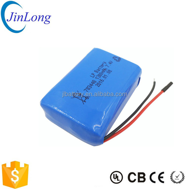 Alibaba China supplier 783448 1300mah 7.4v li-polymer battery