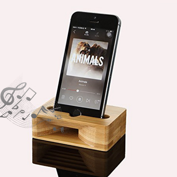bamboo phone stand with natural sound amplifier