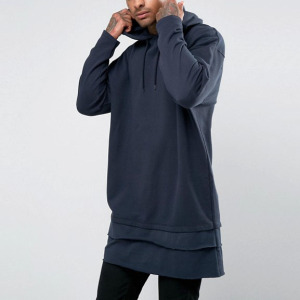 Fashion Extreme Oversized Super Longline Hoodie With T-Shirt Hem Tall Hoodies For Men