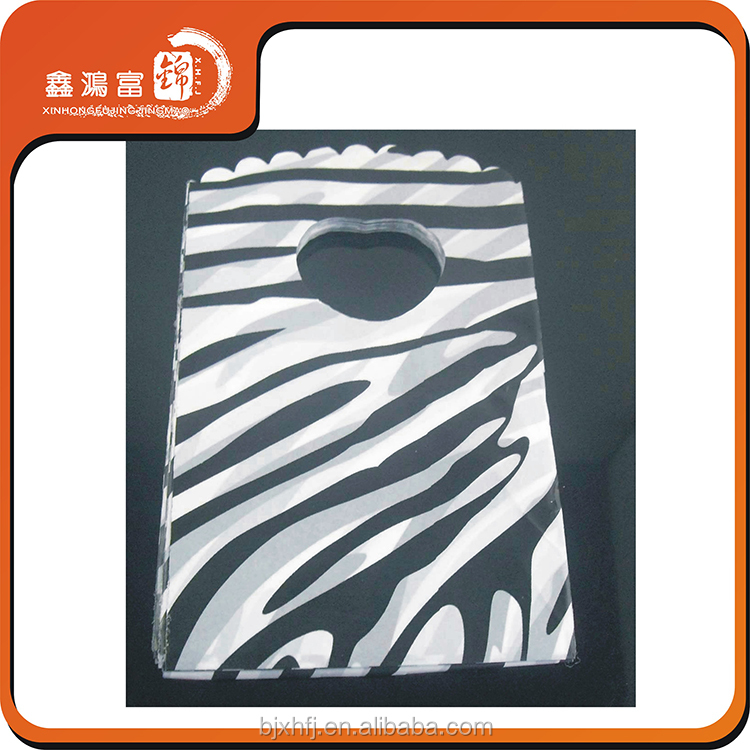 custom die cut stripe plastic packaging bag