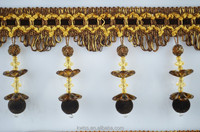 fancy lace beaded trim,curtain fringes with hanging beads,plastic beaded fringe