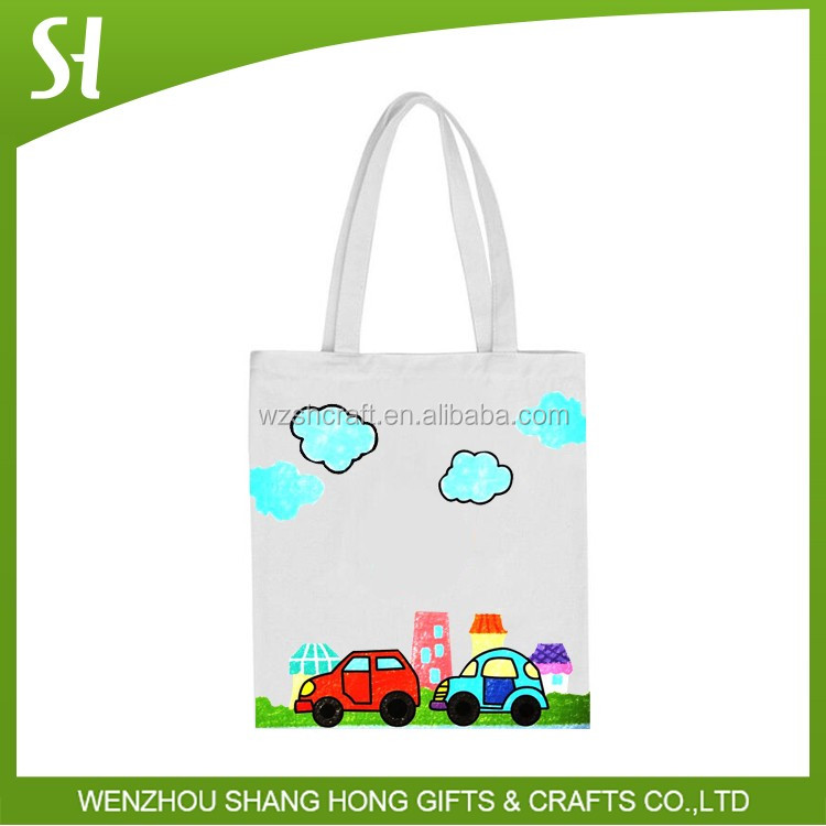 full color full side white diy tote bag cotton canvas