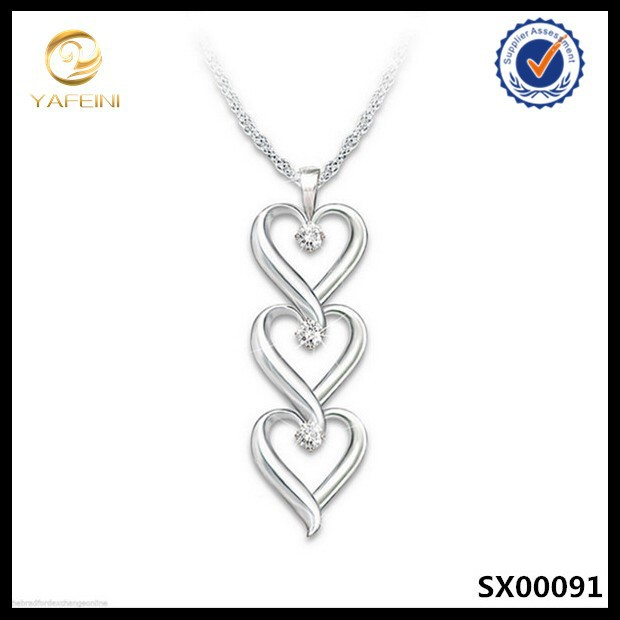 "Engaved ""today,tomorrow,always""three heart 925 sterling silver diamond pendant necklace for couples"
