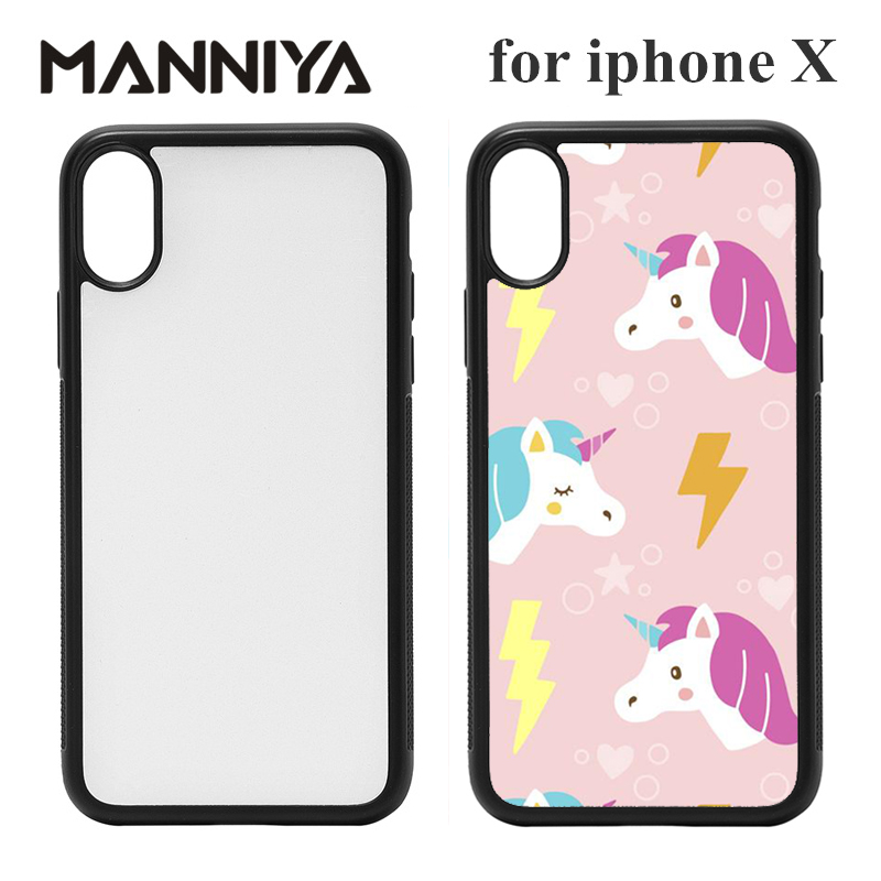 Free shipping! Blank 2D sublimation rubber TPU+PC phone cases for <strong>iphone</strong> X with Aluminum insert