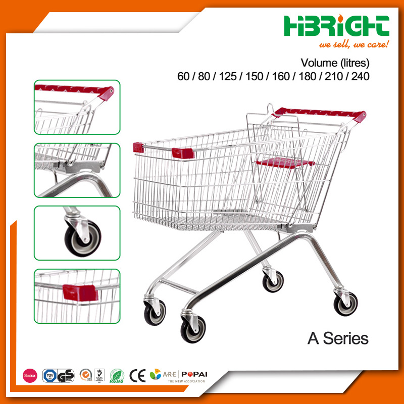 supermarket push cart zinc metal shopping trolley cart with baby seat