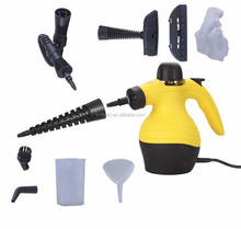 V-mart New arrival Portable high pressure yellow color steam cleaner with 10 accessories, thermostat,safety children locks