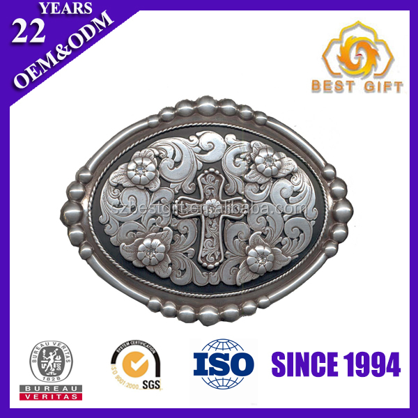 Wholesale factory price Zinc alloy cross belt buckle for men