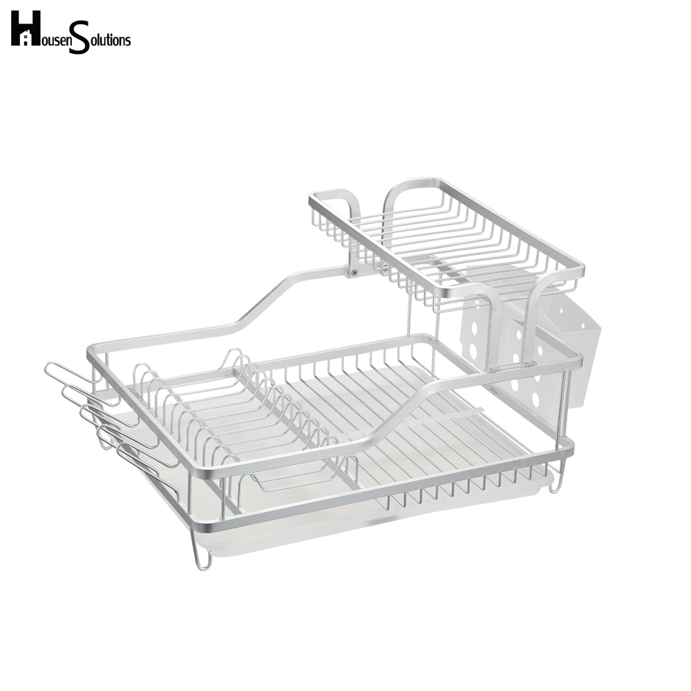 Amazon easy to clean 2-tier draining dryer organizer dish rack aluminum dish drainer with swivel spout