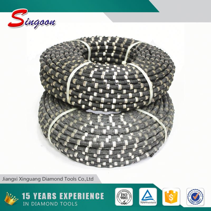 100% Germany made steel cable connected by best quality plastic with beads diameter 8.8mm. 11.5mm diamond wire saw manufacture