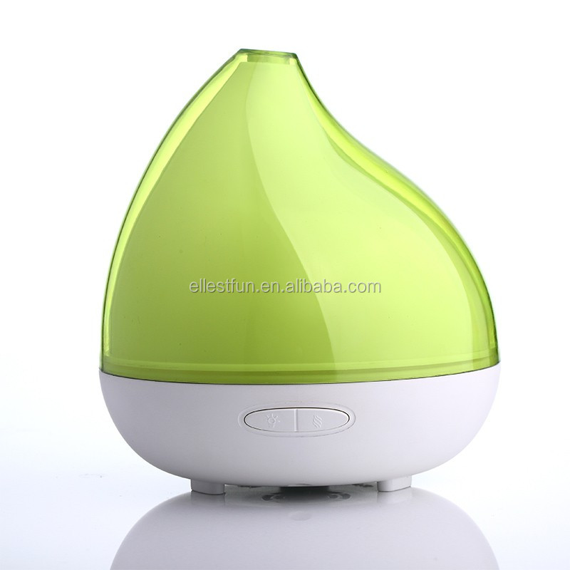 Ellesfun breath light novelty aroma oil diffuser/black/green water drop housing ultrasonic oil diffuser