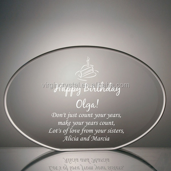 Oval Plaque Shaped Crystal Glass Paperweight for Birthday Gift or desk office set