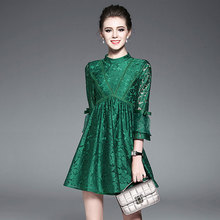 Online wholesale shop latest design one piece women bell sleeves short lace dress