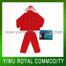 Waterproof Red Woman Rain Suit With Hood