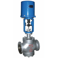 China made 3 way flange type electric regulating control valve with double seat