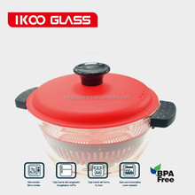 50OZ borosilicate glass cooking pot with PP lids steamer and silicone handle