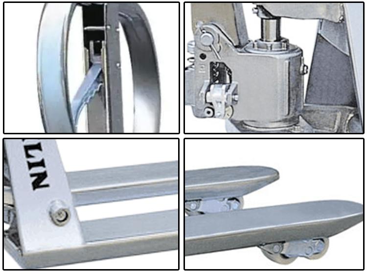 1500 kg Belle conception en acier inoxydable transpalette jack poids capacité