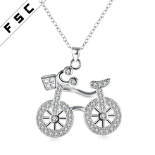 Wholesale fashionable jewelry silver plated zircon chain special design female copper bicycle pendant necklace