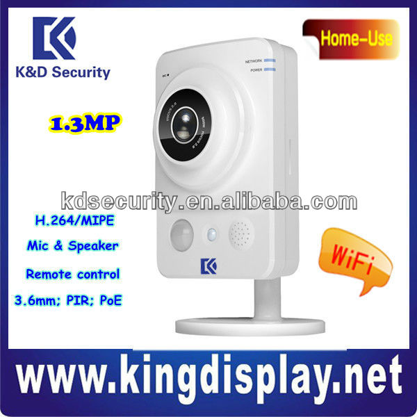 3.6mm H.264 1.3Megapixel WiFi PIR CMOS PoE IP Cameral, home use ip camera