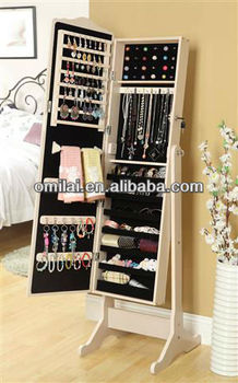 Full lengh wooden jewelry armoire