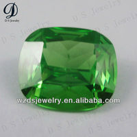 Square shape synthetic green Emerald price per carat cz gems