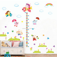 DIY kindergarten animal FLIGHT height chart eco-friendly removable Wall Sticker DIY Kids Bedroom & Baby Nursery Vinyl Decal