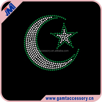 Low price moon and star Hotfix Rhinestone Heat Transfers design China manufacturer
