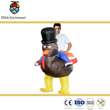 Make halloween adult rider inflatable Turkey head costume for party