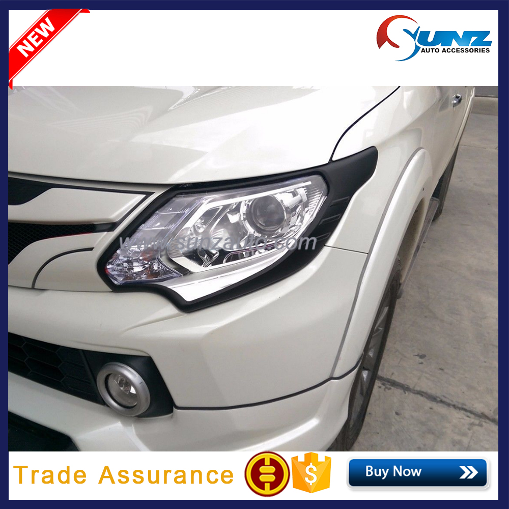 ABS Matte Black Head <strong>Light</strong> Cover Protector For Mitsubishi Triton <strong>L200</strong> 2015 2016 2017