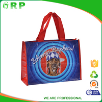 ISO/BSCI Lovely dog pattern durable foldable shopping name brand bags wholesale