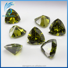 wonderful trillion cut olive green color triangle shape cz gemstones