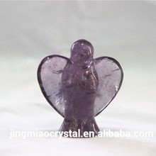 Hand Carved Natural Amethyst Crystal Angel for table decoration