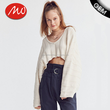 Loose batwing sleeve ladies crop top sweaters cotton crochet clothing for wholesale