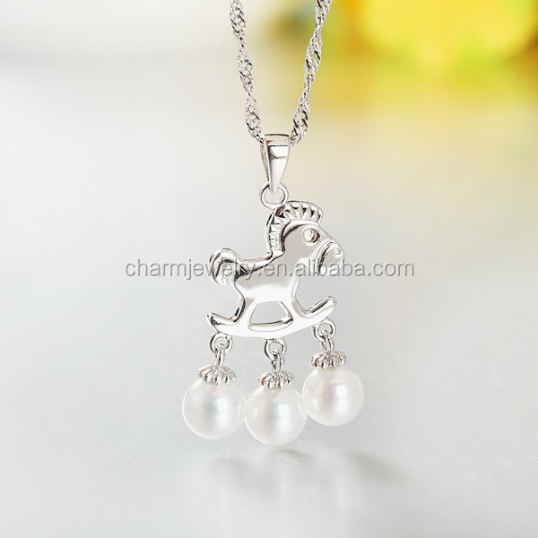 925 Pure Silver Pearl Necklace with Chocker Horse Three Real Pearl pendant Hot Selling Product In 2016 SCR022