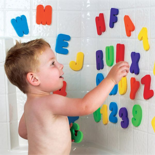 Educational letter number baby tub town foam bath toys with organizer