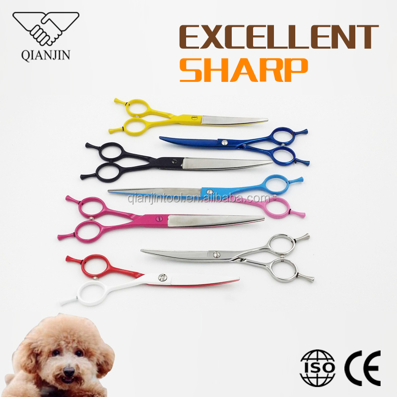 Multi Color Curved Pet Dog Grooming Scissors bending dog grooming shears