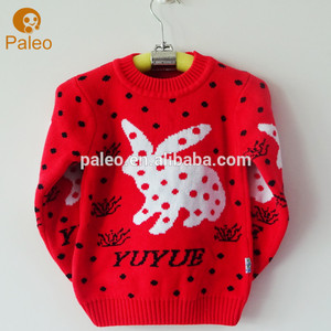 Factory Custom 100% Cotton Girl Sweater with long sleeve knitwear Jumper Pullover manufacturers