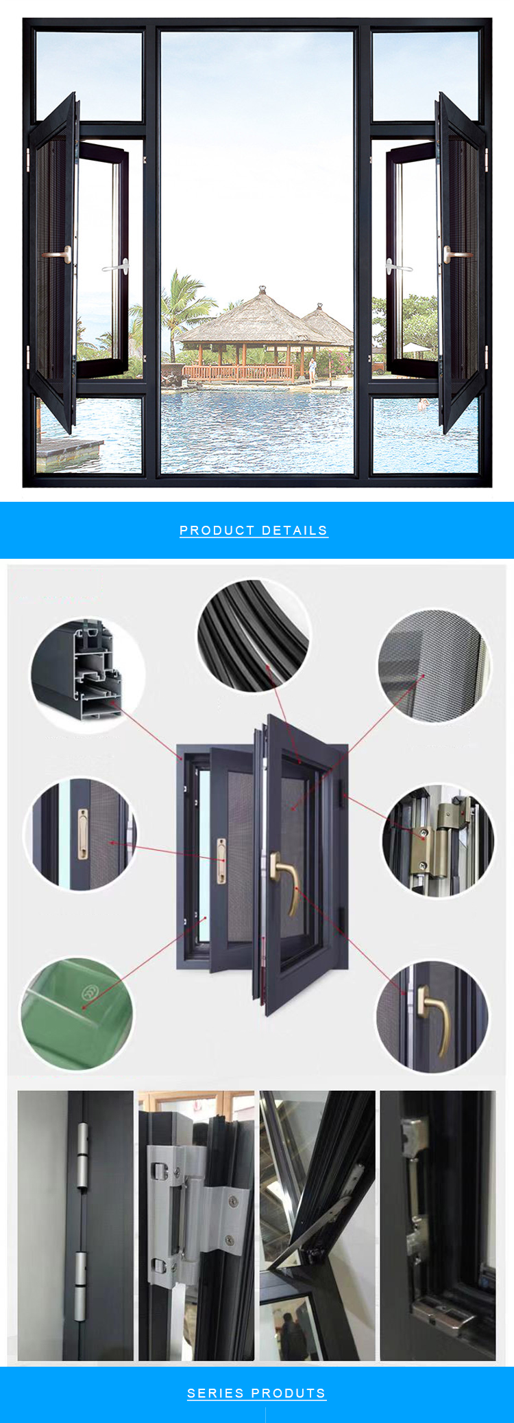 High Quality Home French Style Single Three Groups Small Bathroom Screen Mesh Casement Window