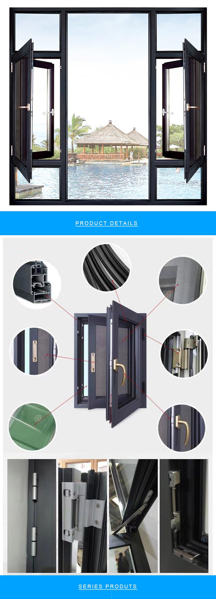 Aluminum alloy double  glass thermal-break casement  window with mosquito net