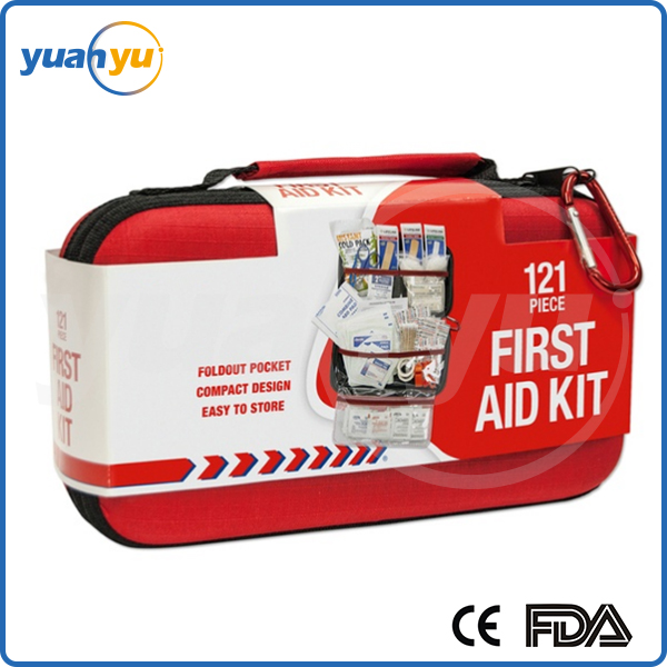 2016 Whole set first aid kit 121 pieces kit emergency survival blanket first aid bag for disaster, injures and pain