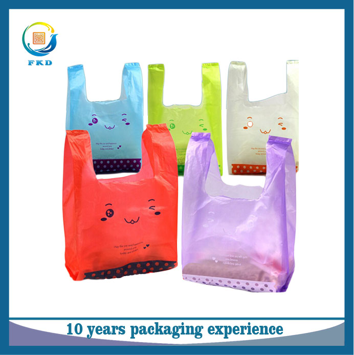 Factory wholesale transparent cheap printed plastic bag t shirt carrier shopping bag