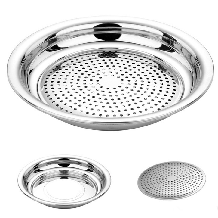 2pcs Multifunctional stainless steel Steaming Plate/food warming tray 25cm