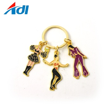 fashion personalized custom gold girl pop Singer Star keychain